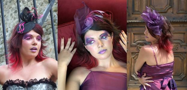 Bibis sur serre-tête noir, fuchsia et violet