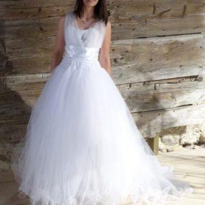Robe de mariée modulable blanche, se raccourcit