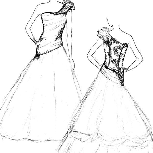 Croquis de la robe Cerise Aniline