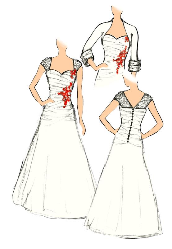 Croquis de la robe Corail Eburnéen