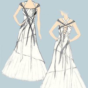 Croquis de la robe de mariée Neige d'Espagne