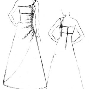 Croquis de la robe de mariée Platine Chartreuse