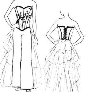 Croquis de la robe de mariée Rouge d'Aniline