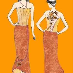 Croquis de la robe de mariée Safran Cuivrée