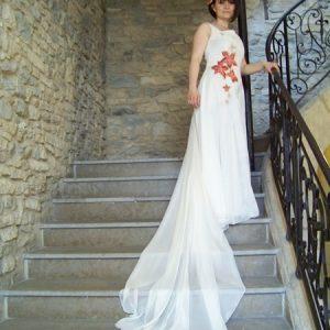 Robe de mariée imprimée avec traîne amovible