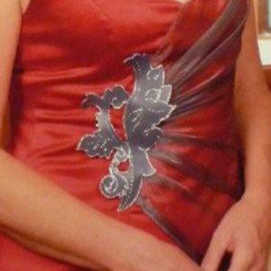 Robe de mariée en satin rouge et organza argent avec incrustation de cuir