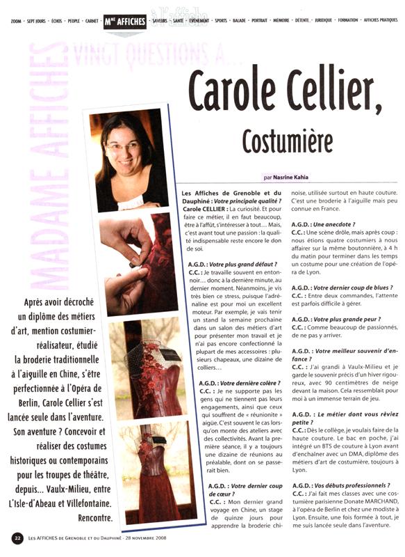 Article paru dans les Affiches de Grenoble en novembre 2008