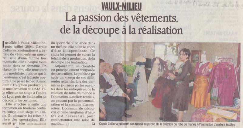 Article paru dans le Dauphiné Libéré en octobre 2012