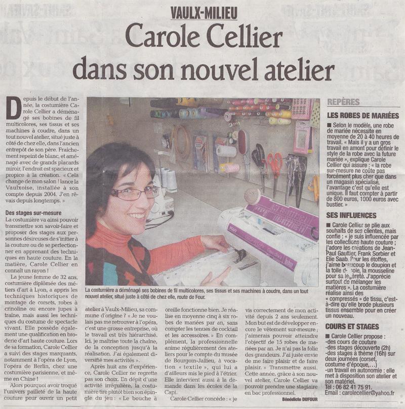 Article paru dans le Dauphiné Libéré en janvier 2013