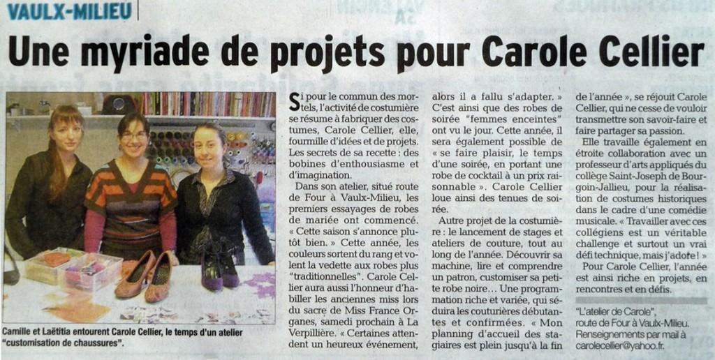 Article paru dans le Dauphiné Libéré en janvier 2014