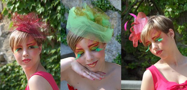 Bibis sur serre-tête bordeau, vert et rouge/fuchsia
