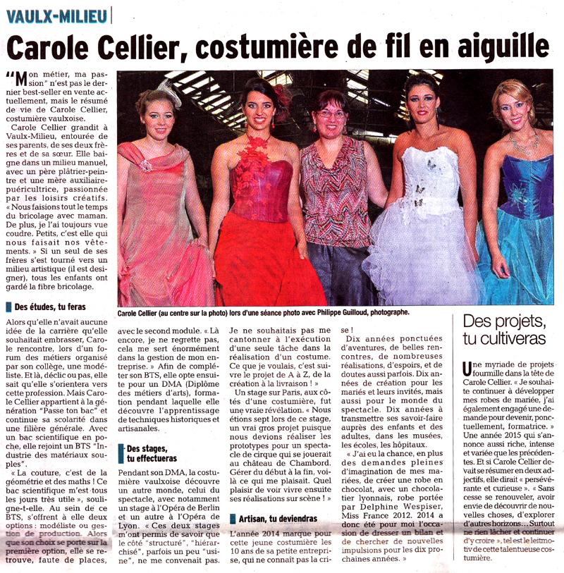 Article paru dans le Dauphiné Libéré le 9 février 2015