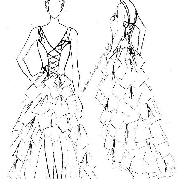 Croquis de la robe de mariée d'Alicia