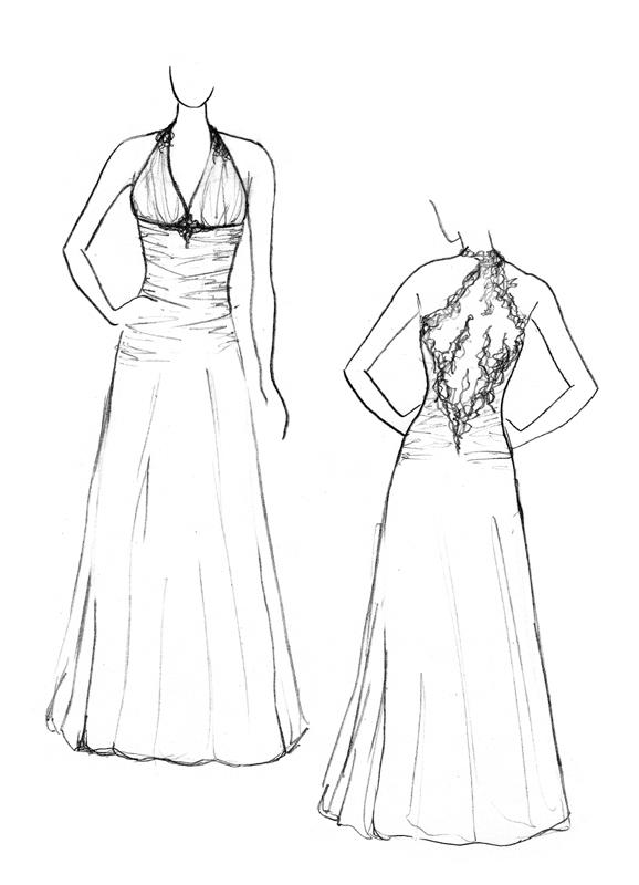 Croquis de la robe de mariée Blanc d'Argent