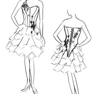 Croquis de la robe Lilas Ecarlate