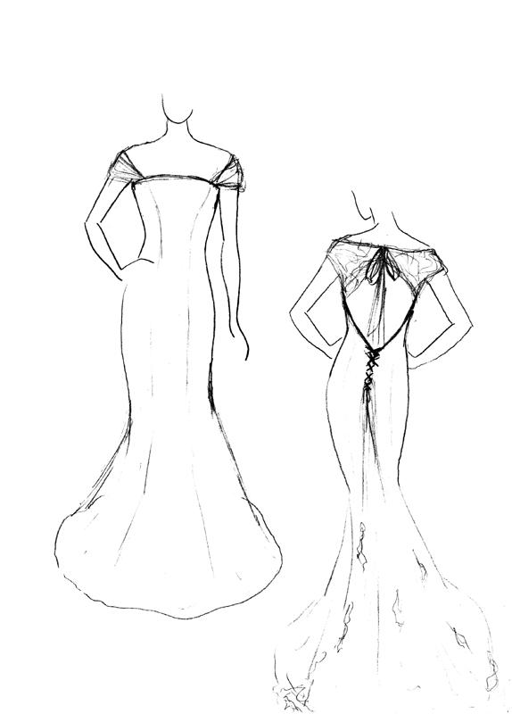 Croquis de la robe de mariée Blanc de Neige