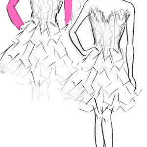 Croquis de la robe Orpiment Magenta