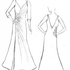 Croquis de la robe de mariée Ponceau Argenté