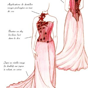 Croquis de la robe Rouge d'Alizarine