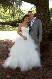 Robe de mariée évolutive avec une partie de la jupe amovible