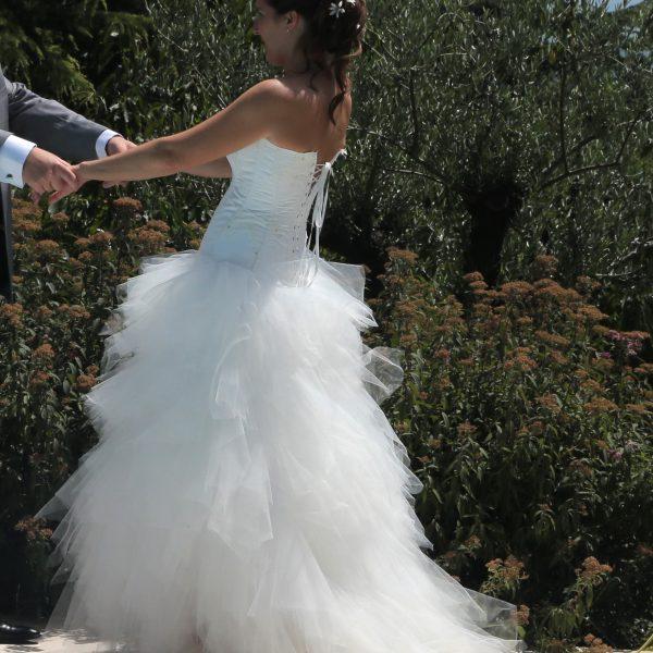 Robe de mariée évolutive avec une partie de la jupe amovible (version longue)